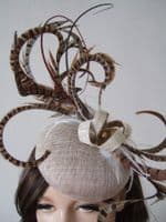 Woodland Tones Browns, Ivory and Light Gold Pheasant Feathered Button Fascinator Hatinator Hat. Pheasant feather fascinator. Royal Ascot Hats. Hats for Winter Wedding Guest. Pheasant Feather Hats. Hats for the Races. Mother of the Bride Hats.